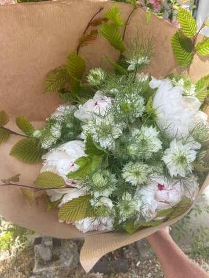 Bouquet rose blanc et vert